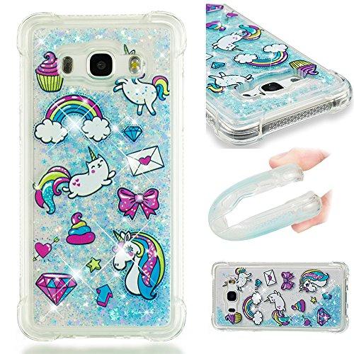 Ooboom Samsung Galaxy J3 2016 Custodia Trasparente TPU Silicone Assorbimento Urto Protezione Goccia Copertura Cover Bumper Case con Liquido Galleggiante Bling Glitter - Lettera Unicorno