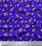 Soimoi Blau Baumwoll-Voile Stoff dot, Blumen & Spatz Vogel