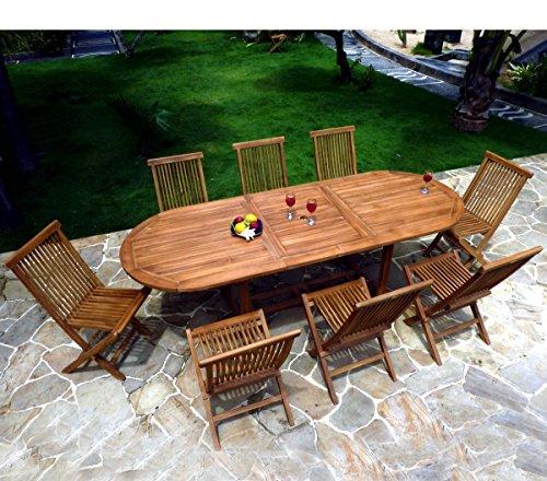 Gartenmöbel, Teak geölt für 8–10Personen Tisch oval