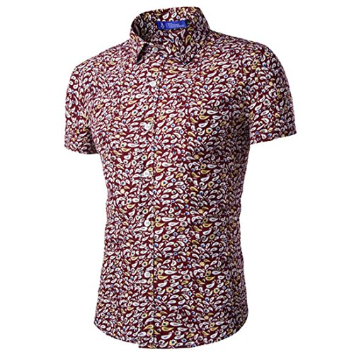 Men's Flower Printed Short Sleeve Slim Fit Casual Shirts red