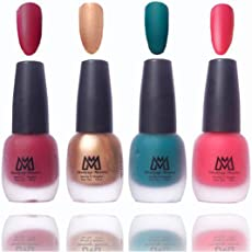 Makeup Mania Premium Nail Polish Velvet Matte Nail Paint Combo (Maroon, Golden, Green, Pink, Pack of 4)