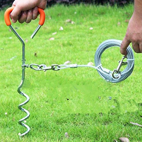 Pet Hund Krawatte aus dem Spiel Kabel, leichter Hunde Camping Outdoor Hering und Kabelleine für mittlere Großer Haustier Hunde -
