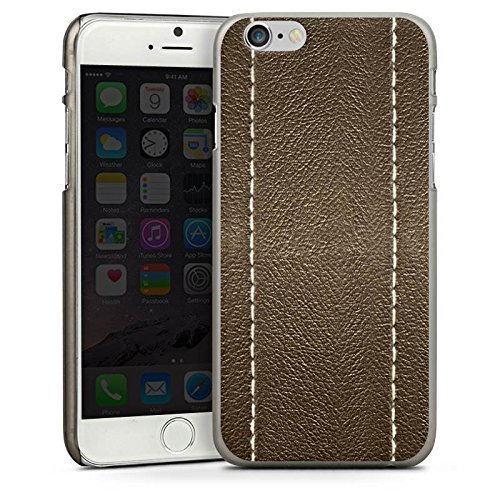 Apple iPhone 5s Housse étui coque protection Cuir marron Look Structure en cuir CasDur anthracite clair