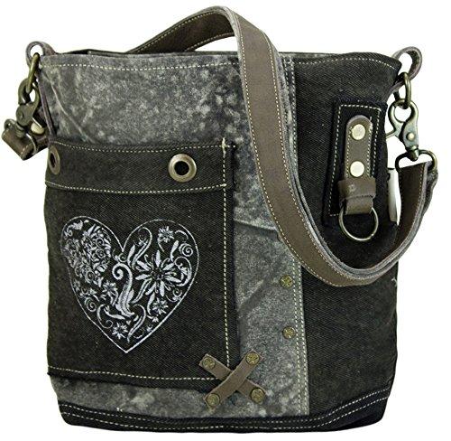 Domelo Tracht Damen Trachtentasche Dirndltasche Vintage Tasche Umhängetasche Schultertasche aus Canvas und Leder mit Herz 53042