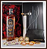 Geschenk Bushmills Black Bush irischer Whiskey + Flaschenportionierer + 10 Edel Schokoladen Confiserie DreiMeister & DaJa + 4 Whisky Fudge kostenloser Versand