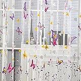exiu cortina diseño mariposa decoración cámara para ventana puerta, gasa, rosa, 200cm x 100 cm