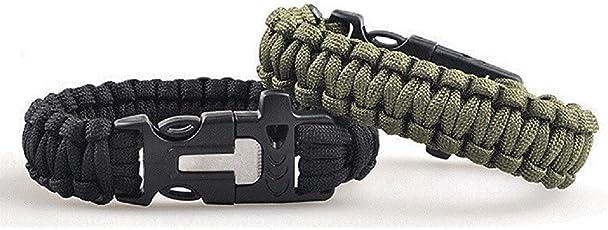 Lance Home Confezione di due bracciali di sopravvivenza in paracord, con fischietto, pietra focaia, raschietto per esterni nero e verde militare