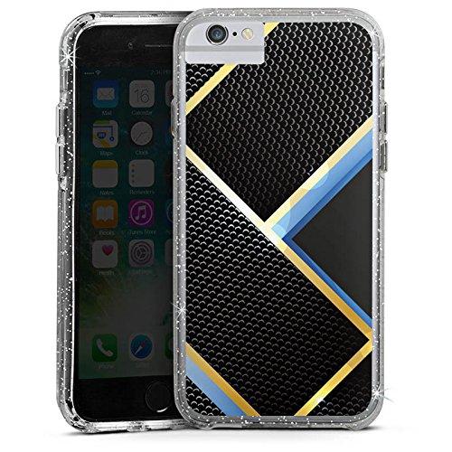 Apple iPhone 6 Bumper Hülle Bumper Case Glitzer Hülle Muster Pattern Schwarz Blau Gold Carbon Bumper Case Glitzer silber