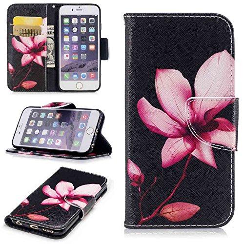 TOYYM iPhone 6s Plus 5,5Zoll Hülle,iPhone 6 Plus Lederhülle,Ultra Dünn Flip PU Leder Cover Wallet Brieftasche Case [Card Holder][Standfunktion][Magnetverschluss],Kreativ Embossed Muster Bookstyle Foli Rosa Lotus