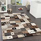Paco Home Designer Teppiche Modern Loribaft Nomaden Teppich Gabbeh Optik Beige Braun Creme, Grösse:160x230 cm
