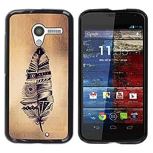 GIFT CHOICE / Schlank Hart Schutzhülle Tasche Hülle HandyHülle Slim Hard Protective Case SmartPhone Cover for Motorola Moto X 1 1st GEN I // feather Indian native Pergament rustikal //