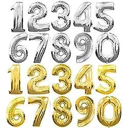 Globos grandes con forma de números, de aluminio dorado/plateado, globos para cumpleaños, bodas, fiestas, de 90 cm., película, dorado, 1