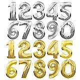 Globos grandes con forma de números, de aluminio dorado/plateado,...