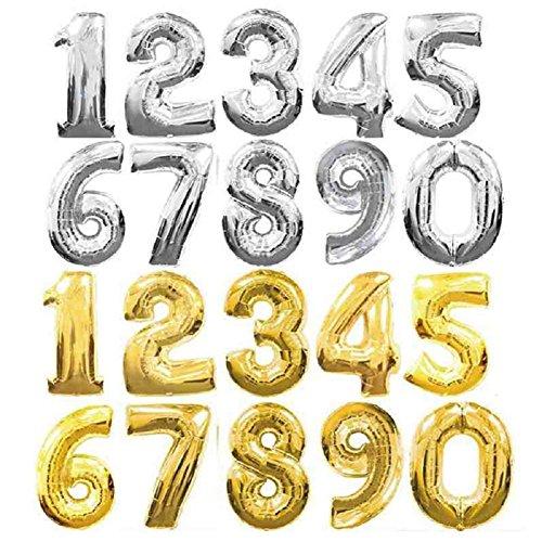 Globos grandes con forma de números, de aluminio dorado/plateado, globos para cumpleaños, bodas, fiestas, de 90 cm., película, plateado, 5