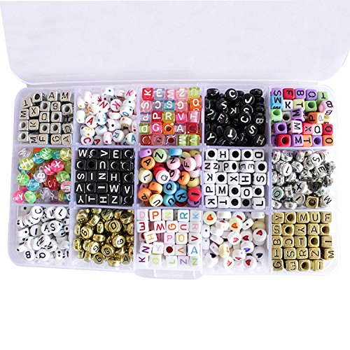 Perline lettera migavan, 1100pcs alfabeto perline artigianali per monili che fanno le collane dei braccialetti e giocattoli educativi diy per bambini,15 stili lettera