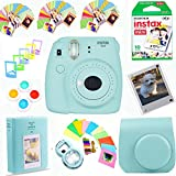 Fujifilm Instax Mini 9 Instant Film Camera (Ice Blue) + Instax Film (10 Shots) + Photix Pleather Case + 64 Pocket Album+ Photix Self-Standing Frames + Stick-on Frames Exclusive Instax Design Bundle