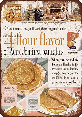 1955 Aunt Jemima Pancakes Reproduction of Vintage Appearance Metal Metal plate, 12 x 18 Inches