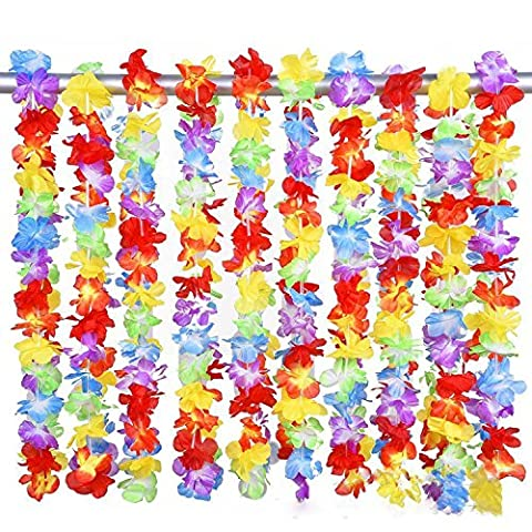 8x hawaiian lei neck garlands, party bag filler, fancy dress, Tropical&beach party for adults or kids by Cheap4uk