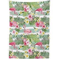 """Yeuss Flamingo - Mantel de exterior con diseño de flamencos con hojas hawaianas exóticas sobre fondo vintage a rayas, lavable y decorativo, color verde, rosa y blanco, 132 x 178 cm, 52"""" x 70""""(132 x 178 cm)"""
