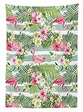 Nappe de décor Yeuss Flamingo de,Flamants Roses avec Feuilles Exotiques hawaïennes et Fleurs sur Un Fond rayé Vintage,Couvre-Table rectangulaire pour Cuisine Salle à Manger,Vert Rose Blanc,52 x 70 po
