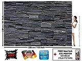 GREAT ART Foto Mural Pared de Piedra Negra - Efecto 3D Negro Stonewall. Tapíz Deco imagen de piedras negras (336x238cm)