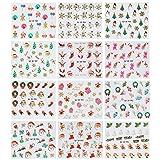 Adesivi per Unghie per Natale,Vococal 12 Fogli di Nail Art Natalizie Natale 3D Adesivi per Unghie Artistiche Decorazioni Style B