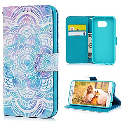 S6 Leather Case S6 Wallet Case KASOS Hybrid Premium PU Leather&Soft TPU Bumper Tribe Totem Flower Painted Flip Purse Cover Hand Wrist Strap PU Rope Notebook Design Cash&Card Slots Change Pouch Shell Front Closure Magnetic Lock Kickstand Cradle for Samsung Galaxy S6