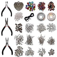 Idea Regalo - Kurtzy 1000 pezzi Kit placcati argento Creazione Gioielli - Kit Starter per fare gioielli DIY artigianato per collane, orecchini, bracciali - Kit di Accessori di Gioielli Include Reperti, Perline