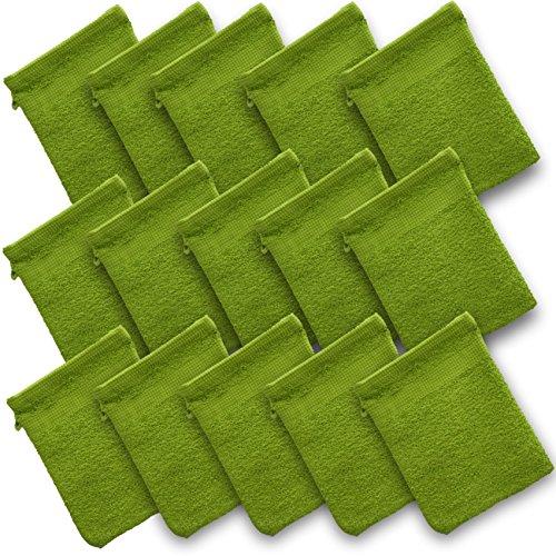 Waschhandschuhe Frottee Angebot 15 tlg Waschhandschuhe Set Waschlappen Baumwolle 100% Waschhandschuh Seiftuch Set grün apfelgrün