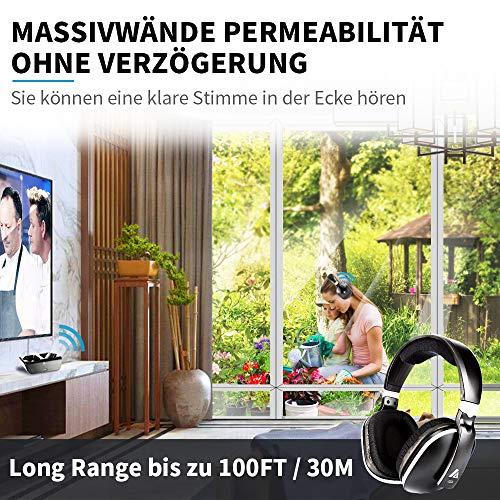 Artiste ADH300 Wireless TV Kopfhörer, 2.4GHz UHF/RF Over-Ear Digital Stereo Kopfhörer für TV, 100ft Distanz Sender Wiederaufladbare Ladestation - 7