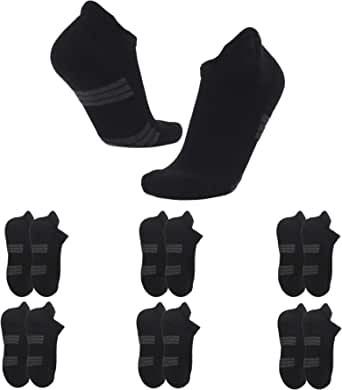 Ankle Athletic Running Socks for Men Women Trainer Socks Anti-Blister Cushioned Low Cut Breathable Cotton Sports Socks (6 Pairs)