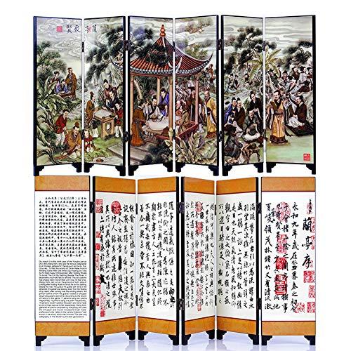 iFireFly The Orchid Pavilion Kalligraphie Tischunterteiler mit 6 Paneelen, lackiert, klein