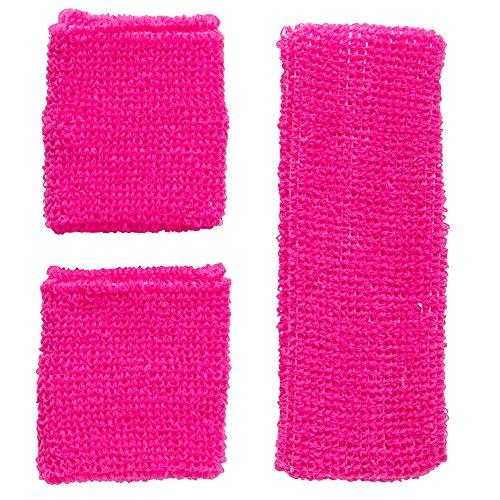 Outfit Jahre 80er Aerobic (Widmann 05832 - Schweißbänder, Stirnband und 2 Armbänder, One Size,)