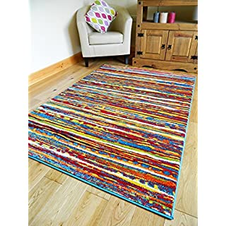 MULTI COLOURED STRIPE FUNKY BRIGHT MODERN THICK SOFT HEAVY QUALITY AREA RUG SMALL MEDIUM XX LARGE RUG NEW MODERN SOFT NAVY YELLOW BLUE RED CARPET NON SHED HALL RUNNER BEDROOM LIVING ROOM AREA RUG ROUND CIRCLE RECTANGLE MAT (160 X 225 CMS)