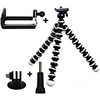 Taslar Flexible Octopus Foldable Mini Tripod For Mobile Phone With Universal Mobile Monopod Mount Adapter,(White & Black)