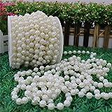 10m/roll 8mm perla artificiale perline corda cordone da tenda, club, feste di matrimonio (avorio)