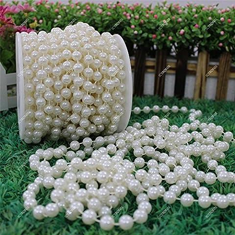 10m/Roll 8mm guirlande perle acrylique collier chaîne bobine perles fleurs Wedding mariée Party Decoration (ivoire)
