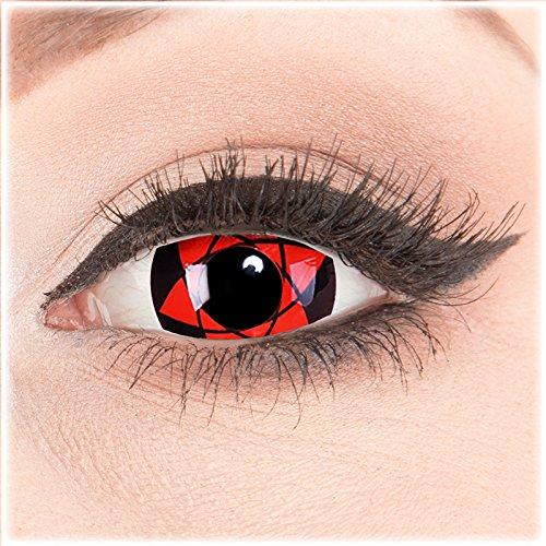 Farbige Mini Sclera Halloween Kontaktlinsen 'Big Uchiha' - 17mm MeralenS Horror Lenses inkl. Behälter - 1Paar (2 Stück)