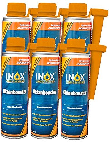 INOX® Oktanbooster Additiv, Kraftstoffadditiv für alle Benzinmotoren geeignet - 6 x 250ml