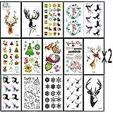 Dream Loom 32Pcs Weihnachten temporäre Tattoos Aufkleber,Wasserdichte Tattoos wie Assorted mit Santa, Bäume, Schneemann, Strümpfe, Elche, Hut, Cane, Glocken, Geschenkboxen, Kränze, etc