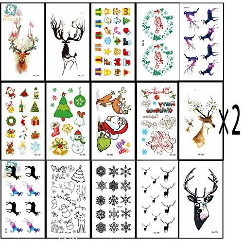 32Pcs Weihnachten temporäre Tattoos Aufkleber,Wasserdichte Tattoos wie Assorted mit Santa, Bäume, Schneemann, Strümpfe, Elche, Hut, Cane, Glocken, Geschenkboxen, Kränze, etc