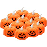JYPS 12PCS Pumpkin Tealights Candles Halloween Flameless Candles Battery Operated LED Tea Lights 3D Orange Lanterns for Halloween Decorations, Indoor and Outdoor Party Favors, Warm White Flickering