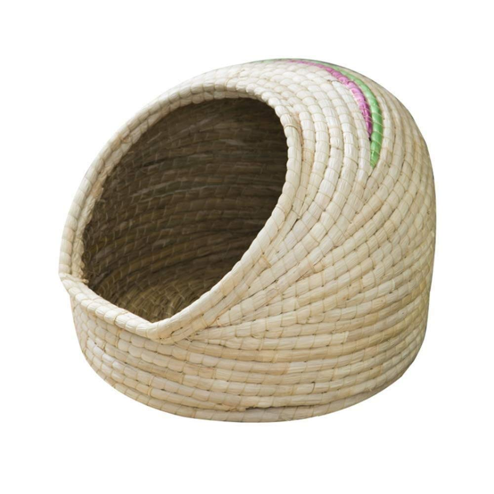 MMD-doggie kennel Comfortable Hand-woven, Four-year Universal Cat Litter, Semi-closed Cat Litter, Cool Kitten Nest, Deep Sleep In Summer, Straw Core Small Cute Cat Litter soft