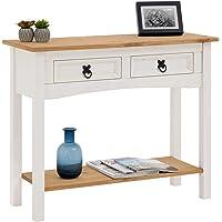 IDIMEX Table Console Campo Table d'appoint en Bois Style Mexicain avec 2 tiroirs, en pin Massif lasuré Blanc et Brun