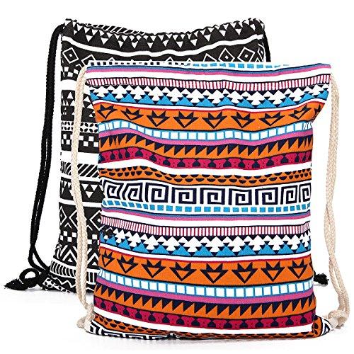 a5a9559b48 KING DO WAY Donna Borsa Etnico Tela Viaggio Coulisse Zaino Shopping  Borsetta Backpack Shoulder Bag Sacca Sportiva da Palestra Borsa Gymbag