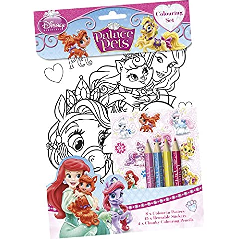 Princesas Disney - Set 8 láminas para colorear, stick y lápices (Kids PACST)