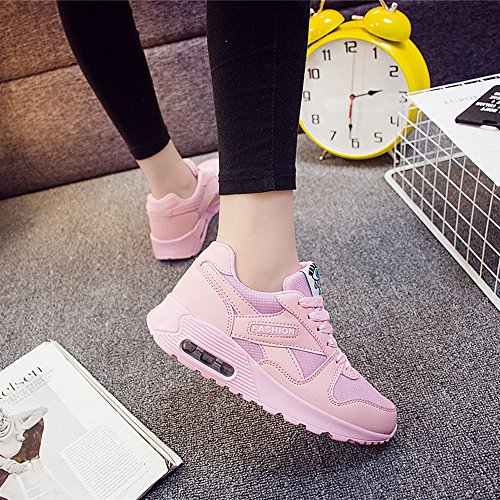 Peggie House Baskets Chaussures Jogging Course Gym Fitness Sport Lacet Sneakers Style Running Multicolore Respirante Femme Rose