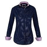 HEVENTON Bluse Damen Langarm in Navy, gepunktet - Hemdbluse - Größe 34 bis 50 - elegant und hochwertig Farbe Navy, Größe 34