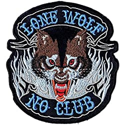'Logo Parche/Iron on Patch Lone Wolf No Club/Biker Patch