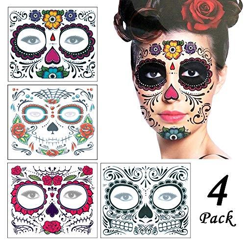 (ZYCC Halloween Gesicht Tattoo Aufkleber 4tlg, Mode-Schädel-Tätowierungs-Make-uptattoo-Aufkleber für Weihnachtsmaskerade-Partei)